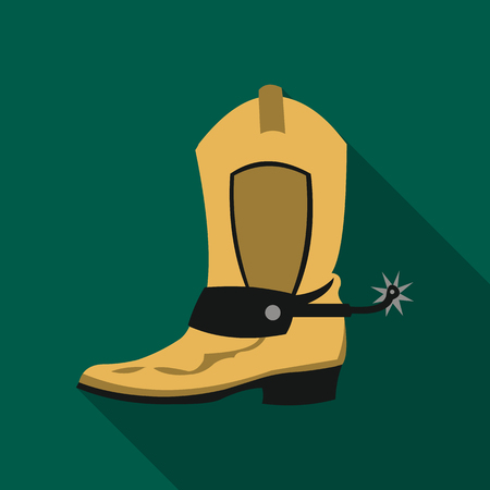 Cowboy boot icon flate. Singe western icon from the wild west flate.