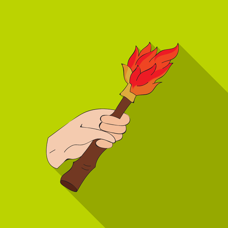Burning torch in the hand icon in flate style isolated on white background. Stone age symbol stock vector illustration.
