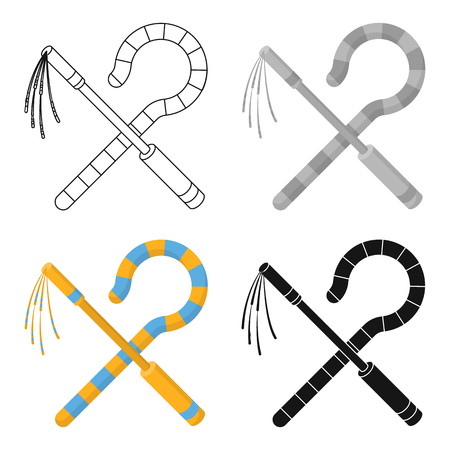 Crook and flail icon in cartoon style isolated on white background. Ancient Egypt symbol vector illustration.