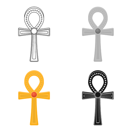 Ankh icon in cartoon style isolated on white background. Ancient Egypt symbol vector illustration.