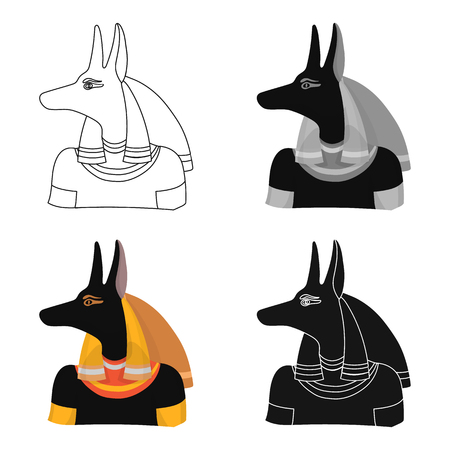Anubis icon in cartoon style isolated on white background. Ancient Egypt symbol vector illustration.