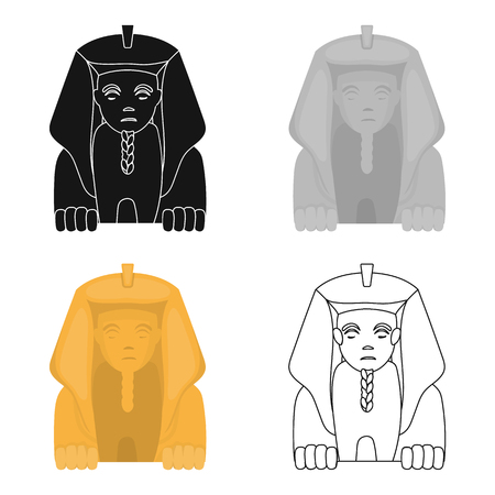 Sphinx icon in cartoon style isolated on white background. Ancient Egypt symbol vector illustration. Illustration