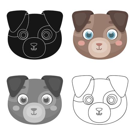 cute dog: Dog muzzle icon in cartoon design isolated on white background. Animal muzzle symbol stock vector illustration.