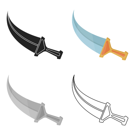 Khanjar icon in cartoon style isolated on white background. Arab Emirates symbol vector illustration.