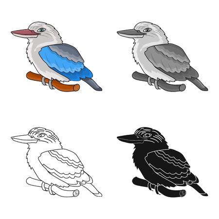 Kookaburra sitting on branch icon in cartoon design isolated on white background. Australia symbol stock vector illustration. Illustration