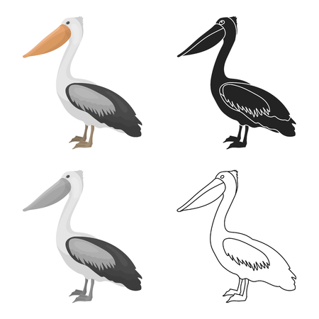 Pelican icon in cartoon style isolated on white background. Bird symbol vector illustration.