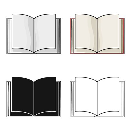 literature: Opened book icon in cartoon design isolated on white background. Books symbol stock vector illustration.