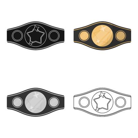 Icono de cinturón de campeonato de boxeo en estilo combinado aislado sobre fondo blanco. Ilustración de vector de símbolo de boxeo. Ilustración de vector