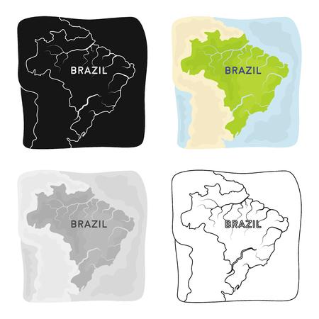 brasilia: Territory of Brazil icon in cartoon design isolated on white background. Brazil country symbol stock vector illustration.