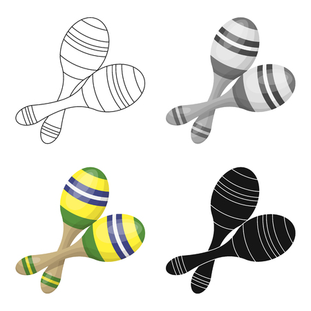 Brazilian maracas icon in cartoon design isolated on white background. Brazil country symbol stock vector illustration. Illustration