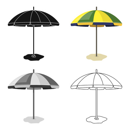 Yelow-green beach umbrella icon in cartoon design isolated on white background. Brazil country symbol stock vector illustration. Illustration