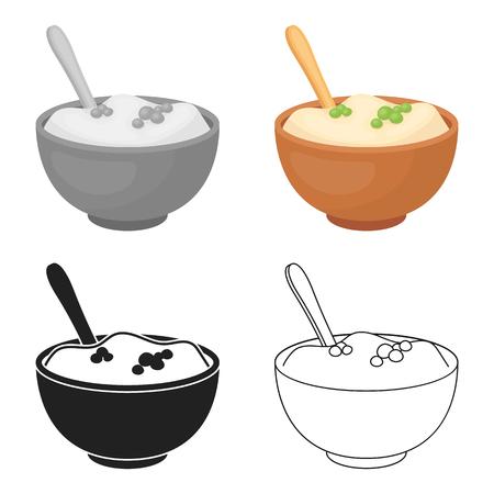 Purè di patate icona in stile cartone animato isolato su sfondo bianco. Canadese illustrazione Giorno del Ringraziamento simbolo.
