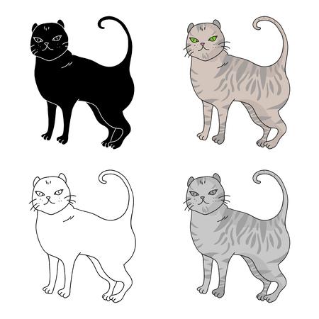 Brits Shorthair-pictogram in beeldverhaalontwerp dat op witte achtergrond wordt geïsoleerd. Kat broedt symbool voorraad vectorillustratie.