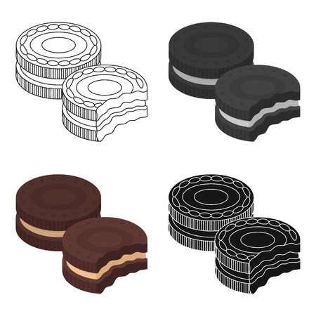 Chocolate sandwich cookies icon in cartoon design isolated on white background. Chocolate desserts symbol stock vector illustration. Illustration