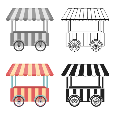 Snack cart icon in cartoon style isolated on white background. Circus symbol vector illustration.