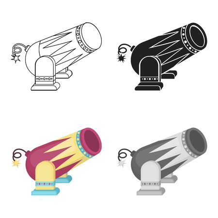 Circus cannon icon in cartoon style isolated on white background. Circus symbol vector illustration. Illustration