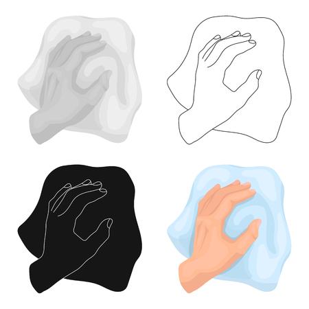 Limpieza por el icono de trapo en diseño de dibujos animados aislado sobre fondo blanco. Ilustración de vector stock de símbolo de limpieza.
