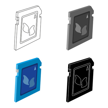 gigabyte: SD card icon in cartoon design isolated on white background. Personal computer accessories symbol stock vector illustration. Illustration