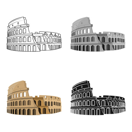 flavian: Colosseum in Italy icon in cartoon design isolated on white background. Countries symbol vector illustration. Illustration