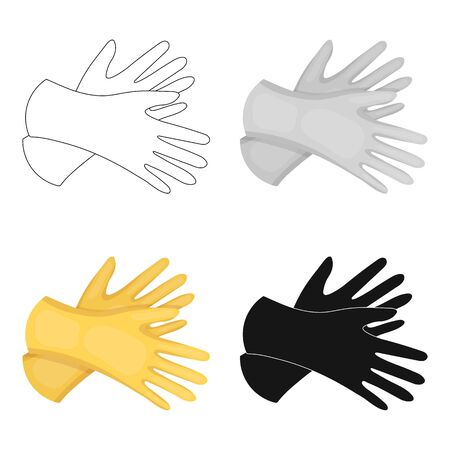 on duty: Rubber gloves icon in cartoon design isolated on white background. Cleaning symbol stock vector illustration.