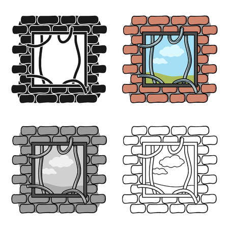 jailbreak: Prison escape icon in cartoon style isolated on white background. Crime symbol vector illustration.