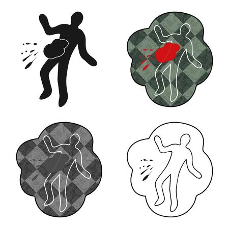 murder scene: Scene of the crime icon in cartoon style isolated on white background. Crime symbol vector illustration. Illustration