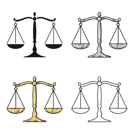scale icon: Scales of justice icon in cartoon style isolated on white background. Crime symbol vector illustration. Illustration