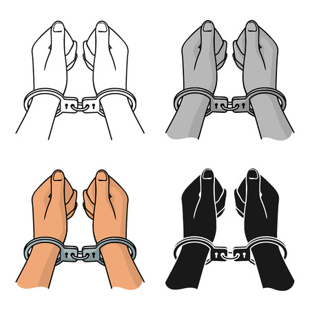 Hands in handcuffs icon in cartoon style isolated on white background. Crime symbol vector illustration. Illustration