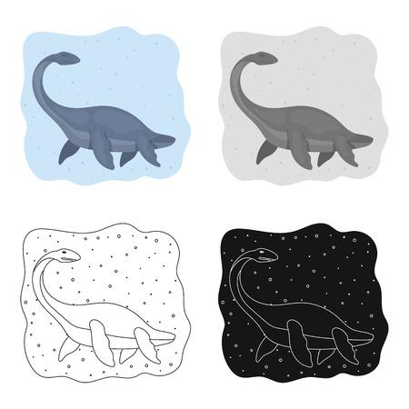 Zee dinosaurus pictogram in cartoon design geïsoleerd op een witte achtergrond. Dinosaurussen en prehistorische symbool voorraad vectorillustratie