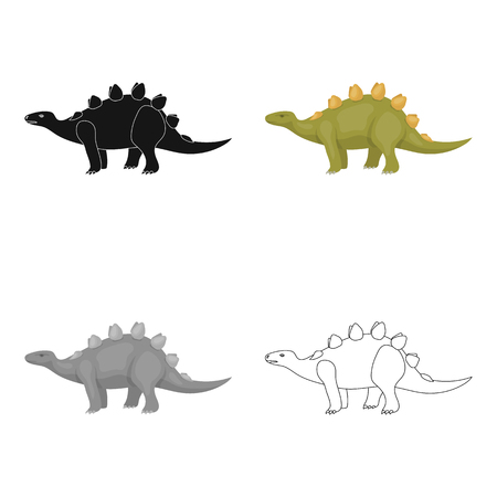 enormous: Dinosaur Stegosaurus icon in cartoon design isolated on white background. Dinosaurs and prehistoric symbol stock vector illustration.