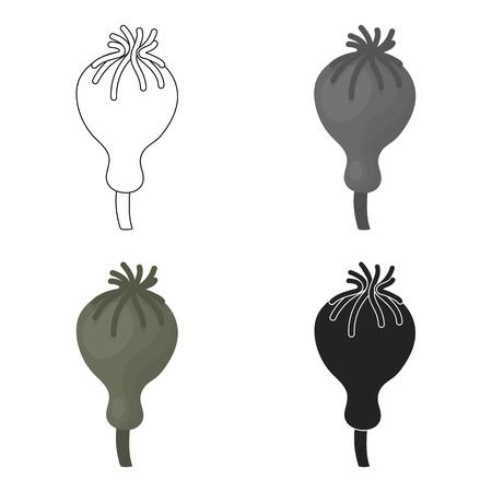 Opium poppy icon in cartoon style isolated on white background. Drugs symbol vector illustration. Illustration