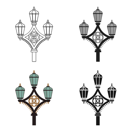Street light icon in cartoon style isolated on white background. England country symbol vector illustration. Illustration