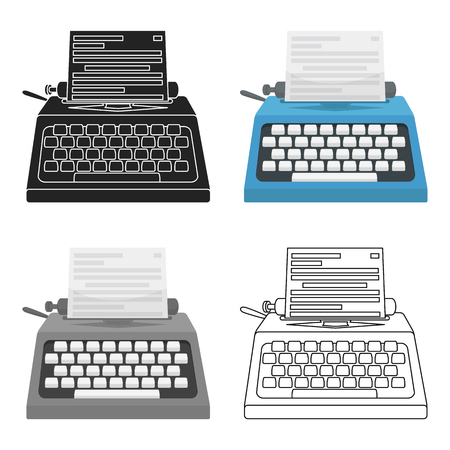 screenplay: Typewriter icon in cartoon style isolated on white background. Films and cinema symbol vector illustration.