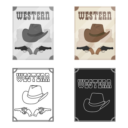 Western movie icon in cartoon style isolated on white background. Films and cinema symbol vector illustration. Illustration