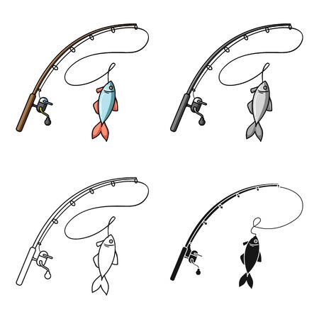 Hengel en vis pictogram in cartoon design geïsoleerd op een witte achtergrond. Visserij symbool voorraad vectorillustratie Vector Illustratie