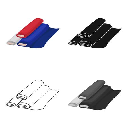 coil: Rollos de icono de tela en diseño de dibujos animados aislado sobre fondo blanco. Francia país símbolo stock ilustración vectorial.
