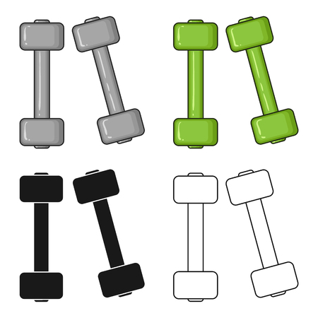 signo pesos: Dumbbells icon in cartoon style isolated on white background. Sport and fitness symbol vector illustration. Vectores