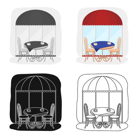 Mesa servida cerca del icono del café en diseño de dibujos animados aislado en el fondo blanco . símbolo de la navidad ilustración vectorial stock . Foto de archivo - 76549456