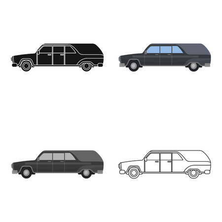 Hearse icon in cartoon design isolated on white background. Funeral ceremony symbol stock vector illustration.