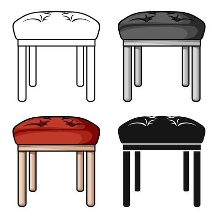Stool icon in cartoon style isolated on white background. Furniture and home interior symbol stock vector illustration.