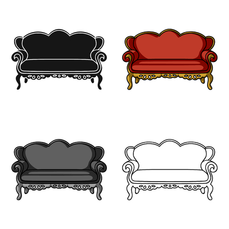 luxury living room: Vintage sofa icon in cartoon style isolated on white background. Furniture and home interior symbol stock vector illustration. Illustration