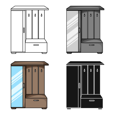 vestibule: Vestibule wardrobe icon in cartoon style isolated on white background. Furniture and home interior symbol stock vector illustration.