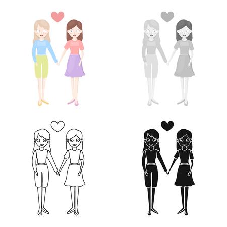 Lesbian icon cartoon. Single gay icon from the big minority, homosexual cartoon. Illustration