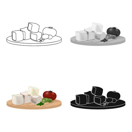 Diced cheese feta with tomatoes and olives on the cutting board icon in cartoon style isolated on white background. Greece symbol stock vector illustration.
