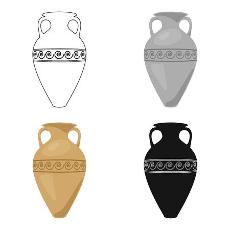 Icône de l'amphore de Grèce en style cartoon isolé sur fond blanc. Illustration de vecteur stock symbole Grèce.