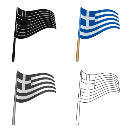 Greek flag icon in cartoon style isolated on white background. Greece symbol stock vector illustration.