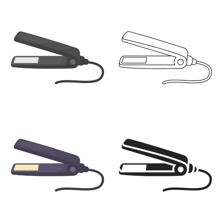 Straighteners irons icon in cartoon style isolated on white background. Hairdressery symbol stock vector illustration.