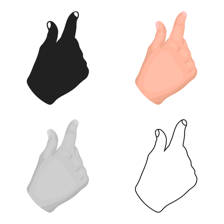 Zoom in gesture icon in cartoon style isolated on white background. Hand gestures symbol stock vector illustration.