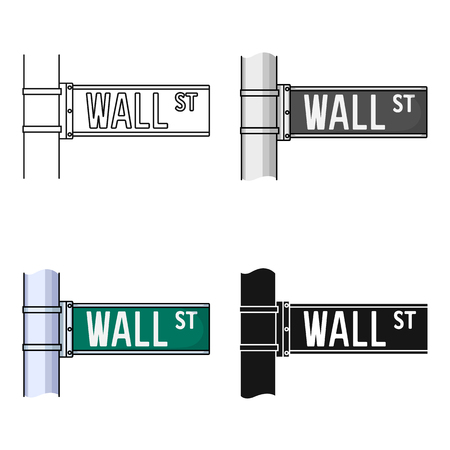 Wall Street sign icon in cartoon style isolated on white background. Money and finance symbol stock vector illustration. Çizim