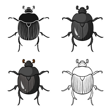 Dor-beetle icon in cartoon style isolated on white background. Insects symbol stock vector illustration. Illustration